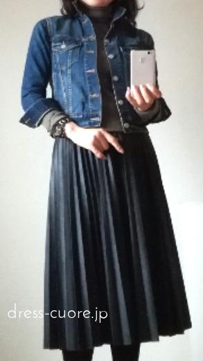 Gジャンとプリーツスカート